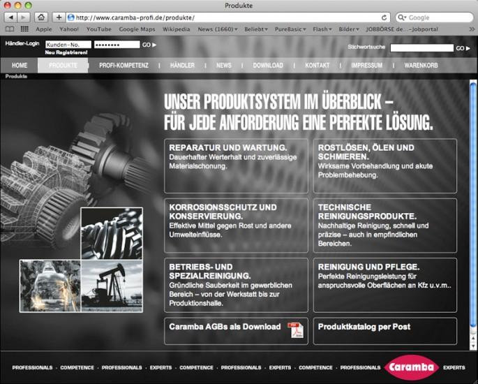 Caramba B2B Homepage