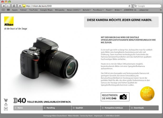 Nikon D40 Microsite