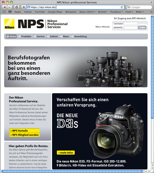 Nikon NPS Website